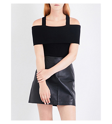 WHISTLES Bandeau cotton-blend knitted top (Black