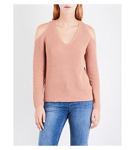 WHISTLES Cold shoulder cotton-blend jumper (Cream