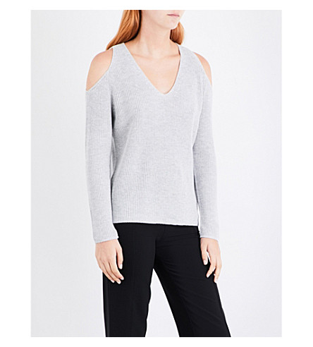WHISTLES Cold shoulder cotton-blend jumper (Grey