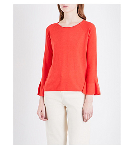 WHISTLES Trumpet cuff cotton-blend jumper (Coral