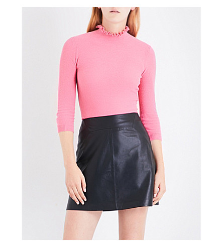 WHISTLES Frill-neck knitted jumper (Pink