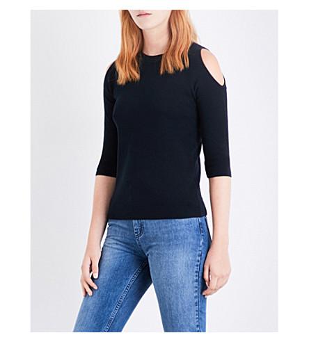 WHISTLES Cold shoulder cotton-blend jumper (Navy