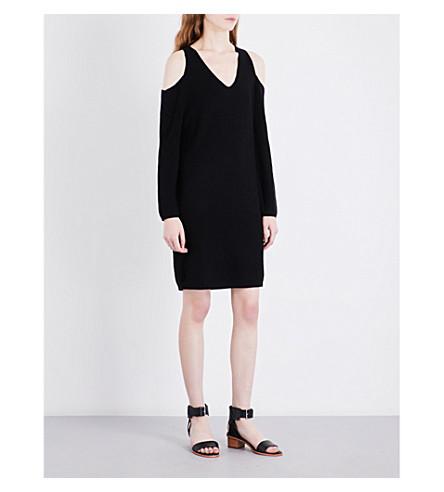 WHISTLES Cold-shoulder knitted dress (Black