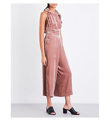 WHISTLES Lola ruffled velvet jumpsuit (Pink