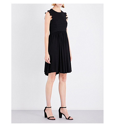 WHISTLES Crochet Lace Jersey Dress (Black