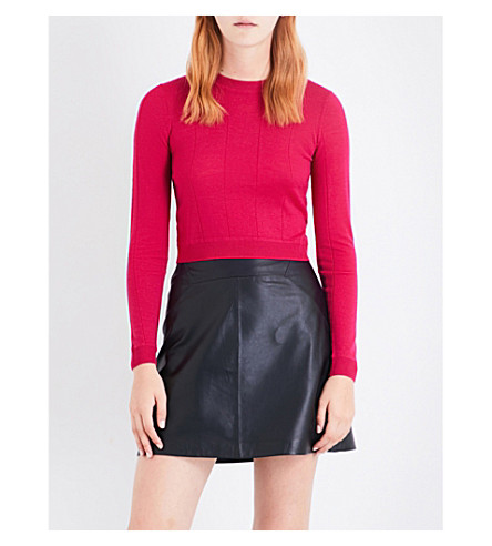 WHISTLES Cropped merino wool jumper (Bright+pink/fuschia