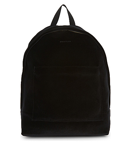 WHISTLES Crossly velvet backpack (Black
