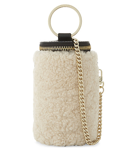 WHISTLES Eden shearling cylindrical bag (Multi-coloured