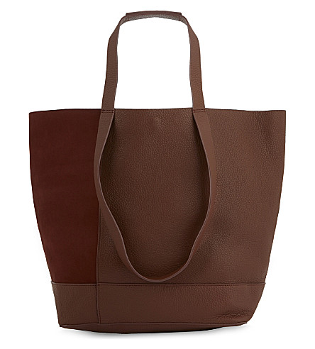 WHISTLES Hampson nubuck and grained leather tote (Tan