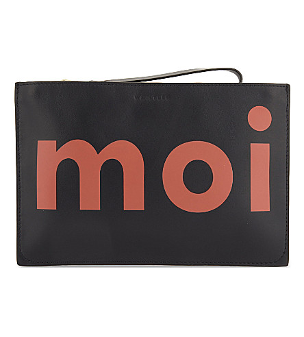 WHISTLES Moi toi leather clutch (Multi-coloured
