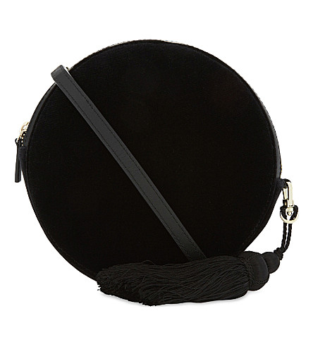 WHISTLES Round velvet cross-body bag (Black