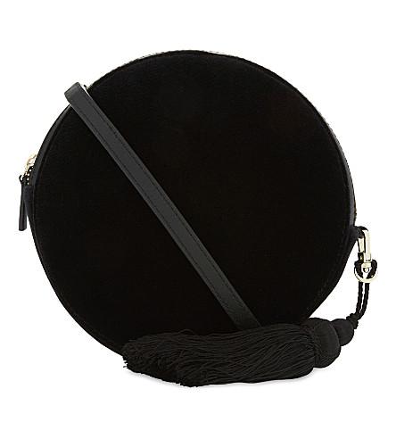 WHISTLES Round velvet cross-body bag (Black