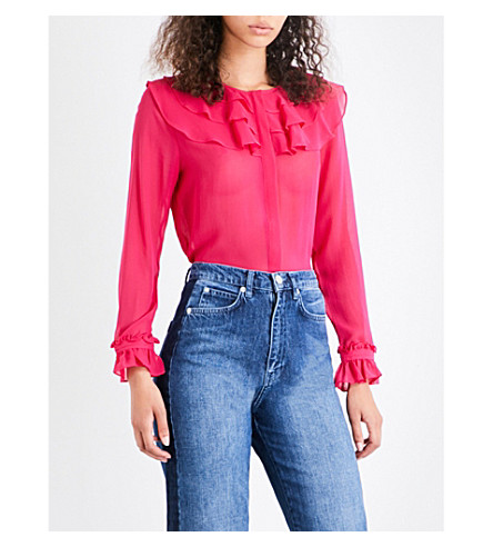 WHISTLES Lizzie ruffle silk-chiffon blouse (Bright+pink/fuschia