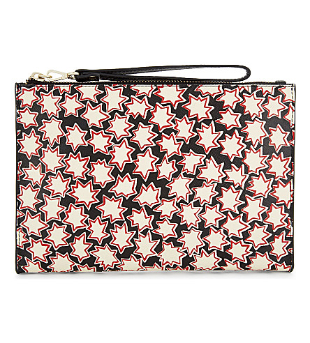 WHISTLES Abstract star leather clutch (Multi-coloured