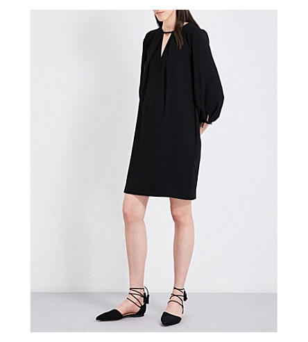WHISTLES Lucia tied-sleeve crepe dress (Black