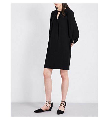 WHISTLES Lucia tied-sleeve crepe dress (Black