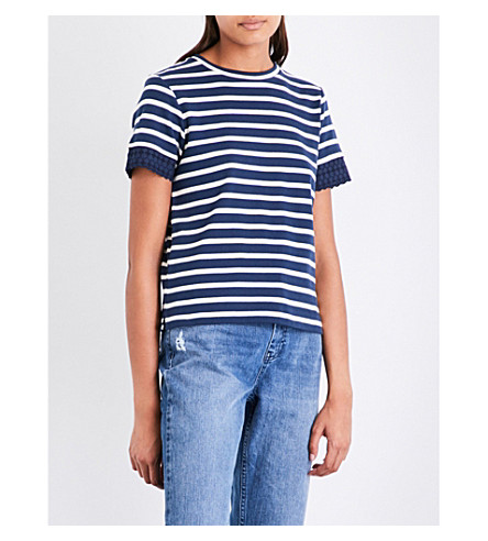 WHISTLES Broderie anglaise-trimmed striped cotton-jersey T-shirt (Multi-coloured