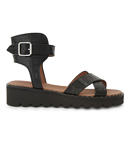 WHISTLES Kingly crocodile-embossed leather sandals (Black