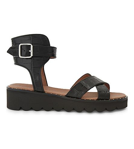 WHISTLES 帝王鳄鱼浮雕皮革凉鞋 (黑色