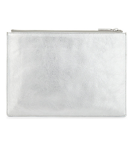 WHISTLES Metallic medium leather clutch (Silver