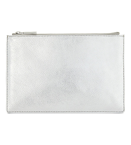 WHISTLES Metallic small leather clutch (Silver