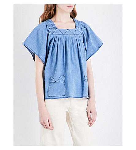 WHISTLES Square-necked denim top (Blue