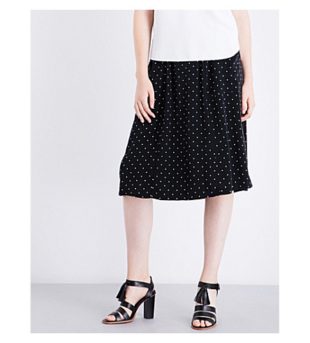 WHISTLES Polka-dot woven skirt (Black