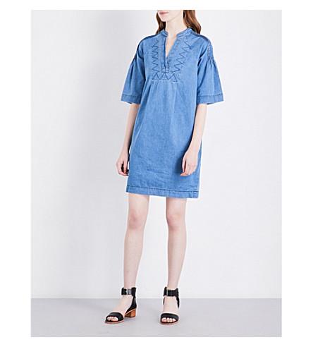 WHISTLES Denim pintuck-detail dress (Blue