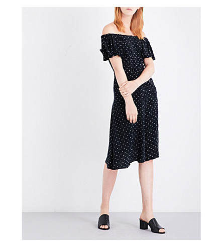 WHISTLES Spot-print cold shoulder woven dress (Black