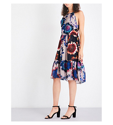 WHISTLES Sunflower-print crepe dress (Multi-coloured