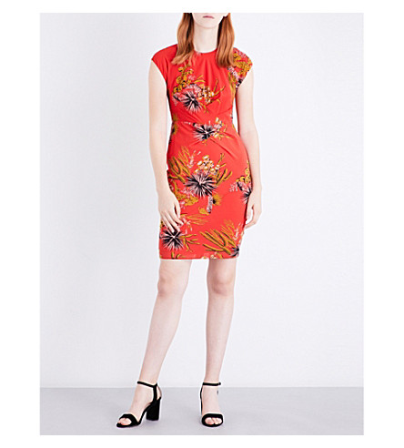 WHISTLES Cactus silk-blend dress (Pink