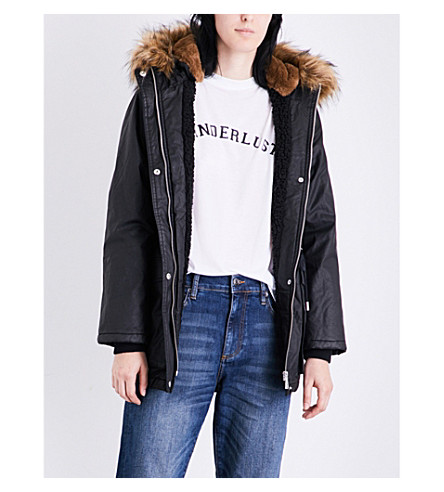 WHISTLES Karlie wax-coated cotton parka (Black