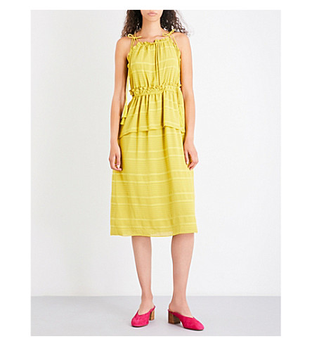 WHISTLES Textured ruffle chiffon tie dress (Yellow