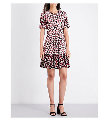WHISTLES Star-print crepe dress (Multi-coloured