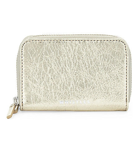 WHISTLES Metallic mini leather purse (Gold