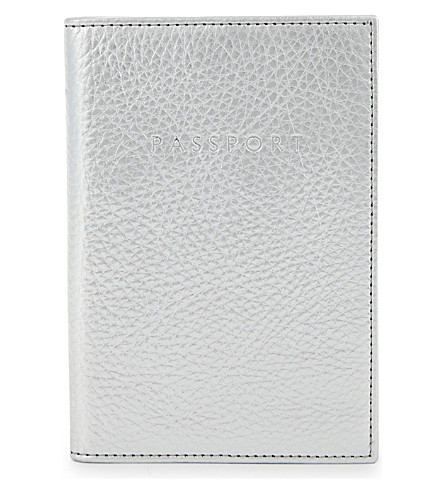 WHISTLES Metallic leather passport holder (Silver