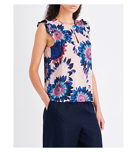WHISTLES Sunflower crepe top (Multi-coloured