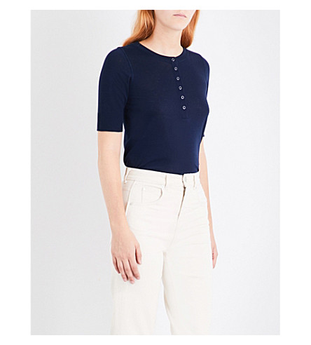 WHISTLES Henley cotton-jersey top (Navy