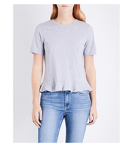 WHISTLES Pepulm-hem cotton-jersey T-shirt (Grey