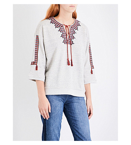 WHISTLES Embroidered cotton-jersey sweatshirt (Grey