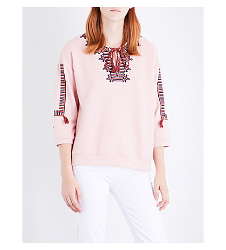 WHISTLES Embroidered cotton-blend sweatshirt (Pale+pink
