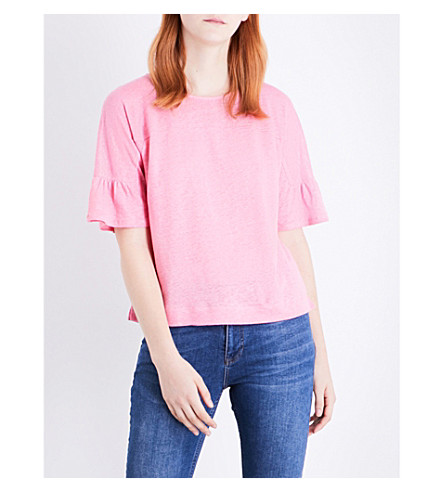 WHISTLES Frilled linen top (Pink