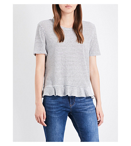 WHISTLES Striped peplum cotton and linen-blend T-shirt (Multi-coloured
