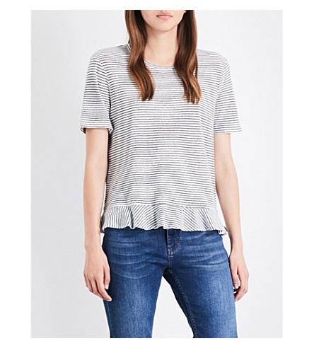 WHISTLES 条纹 peplum 棉和亚麻混纺 T 恤 (多色