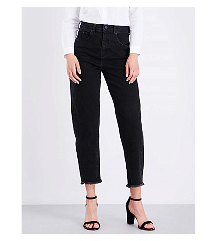WHISTLES Barrel-leg high-waisted regular-fit jeans (Black