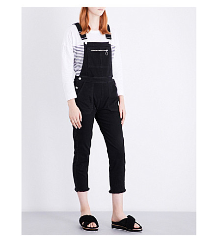 WHISTLES Square neckline stretch-denim dungarees (Black