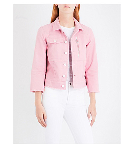 WHISTLES Ring pull denim jacket (Pink