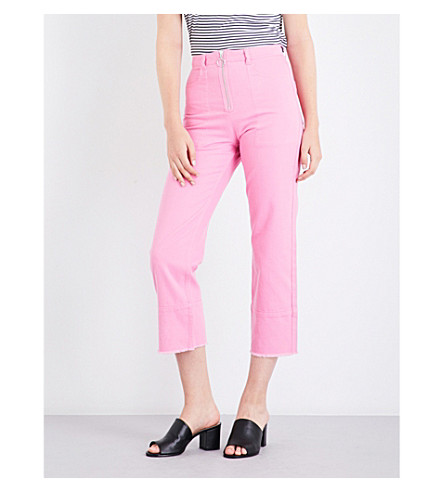 WHISTLES Ring pull straight leg high-rise jeans (Pink