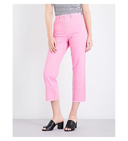 WHISTLES 环拉直腿式高腰牛仔裤 (粉红色