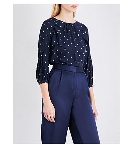 WHISTLES Fleur de Lis crepe-georgette blouse (Navy